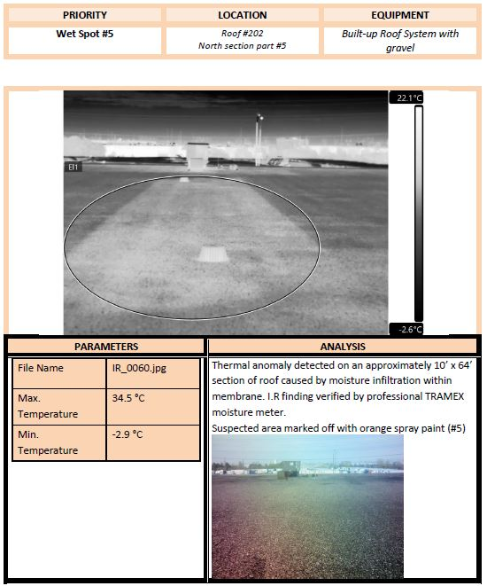 form detailing moisture damage in thermal scan